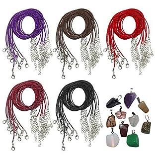 Senhai 50pcs Halskette Seilen mit Verschlüsse, 10Stk Unregelmäßige Form Anhänger, gewachste Baumwolle Threads und Kristall Quarz Steine für Jewelry Making Mehrfarbig