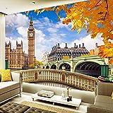 Wolipos 3D Tapete Wandbild London Big Ben Gebäude Landschaft Sofa Dekor Malerei Wandaufkleber 350cmX260cm