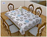 #5: Clasiko 6 Seater PVC Table Cover; Geometric Circles on White Base; Anti Slip; 60x90 Inches; 6 Seater