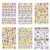 Naler Ostereier Aufkleber Oster Sticker Osterhasen Küken Blumen Osterdeko ( 6 Blatt )