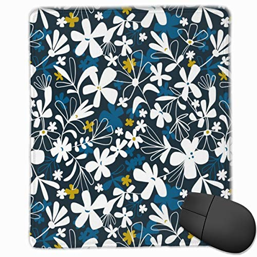 Eloise - Floral Dark Navy Non-Slip Rectangle Rubber Mouse Pad 30x25CM