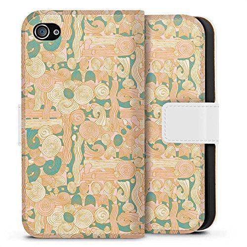 Apple iPhone X Silikon Hülle Case Schutzhülle Zengarden Blumen Muster Sideflip Tasche weiß