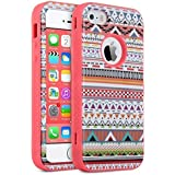 iPhone 5S Case, ULAK iPhone SE Case 3in1 Hybrid Shield Patterned Hard Plastic with Soft Silicone Protective Case Cover For Apple iPhone 5/ 5S/ SE (Tribal+Coral Pink)