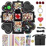 MMTX Explosion Box Scrapbook Creative DIY Photo Album, Caja Sorpresa Regalo de Fotos para cumpleaños Aniversario Boda San Valentín Día de la Madre Navidad La Caja de Regalo (Negro)