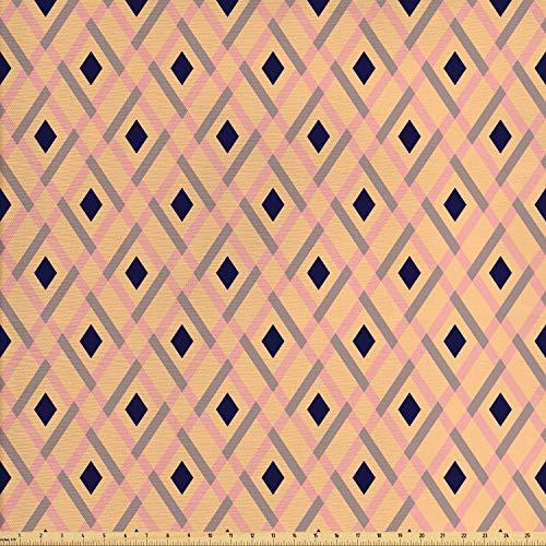 ABAKUHAUS Argyle Stoff als Meterware, Pastell-Rhomben-Linien, Qualitäts Stoff Dekorativer Polster Heimtextilienstoff, 2M (160x200cm), Hellrosa Marineblau Pfirsich (Argyle Stoff)