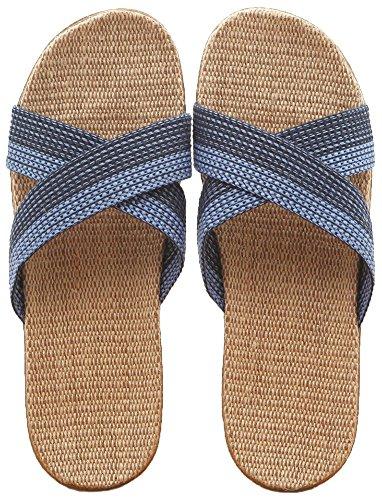 Preisvergleich Produktbild Slip auf Hausschuhe Happy Lily rutschfester Zehenöffnung Unisex Paare Sandale Bio Leinen Pantoletten Feuchtigkeitstransport Cool Flachs Schuhe innen-Hausschuhe für Erwachsene,  blau
