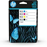HP 953 6ZC69AE, Negro, Cian, Magenta y Amarillo, Cartuchos de Tinta Originales, Pack de 4, para impresoras HP OfficeJet Pro s