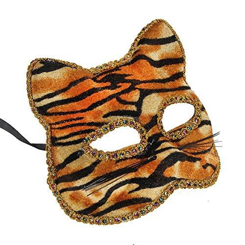 PromMask Masken Gesichtsmaske Gesichtsschutz Domino falsche Front Venedig Maske Weihnachten Halloween Maske Katze Gesicht Gemalt Maske Tiger-Print