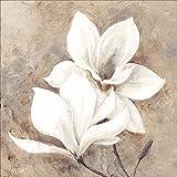 Artland Qualitätsbilder I Bild auf Leinwand Leinwandbilder Wandbilder 70 x 70 cm Botanik Blumen Magnolie Malerei Creme A4CE Klassische Magnolien