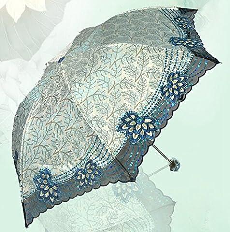 GT Umbrella Manual Fashion 3-Folding Umbrella Creative, Embroidery Rain Umbrella Sturdy Windproof Anti-UV Sunscreen Umbrella