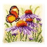 Vervaco PN-0146947 Knüpfkissen Schmetterling mit Sonnenhut