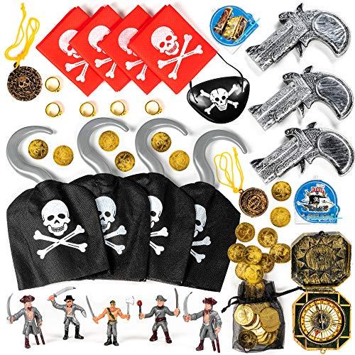 Piraten Set Kostüm - The Twiddlers 80 Teile Piraten Spielzeug Zubehör Set - Kindergeburtstag Geschenke Mitgebsel, Kostüm Accessoires Verkleiden, Augenklappe, Münzen, Kompass, Karneval Halloween Piratenparty