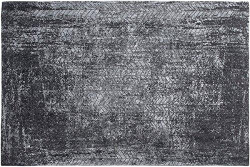 Louis de poortere Teppiche Designer Mad Herren JACOB 'S Leiter 8425Harlem Kontrast Schwarz & Weiß farbigen modernes Used-Look Bereich Teppiche, Schwarz , 170x240cm - (5'7x7'10) (Schwarz Distressed Sitz)