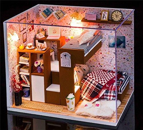 Qearly Handgefertigt Holz Miniatur Puppenhaus Geschenk Mini Haus DIY Dollhouse Kit Moebel Mit Abdeckung und LED Licht-Schlafzimmer