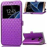 View Etui en PU pour Samsung Galaxy A5 (2016) A510 Smartphone - Yihya Simple Slim [View Window] Flip Folio PU Leather Wallet Case Coque Housse de Protection Portefeuille - Violet ( Purple )
