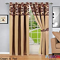 """RING TOP FULLY LINED PAIR EYELET READY CURTAINS LUXURY DAMASK CURTAIN RING TOP (90"""" x 90"""" (228cm x 228cm), Cream and Red)"""