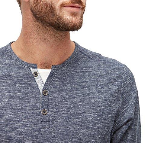 TOM TAILOR für Männer T-Shirt Langarmshirt in Melange-Optik black iris blue