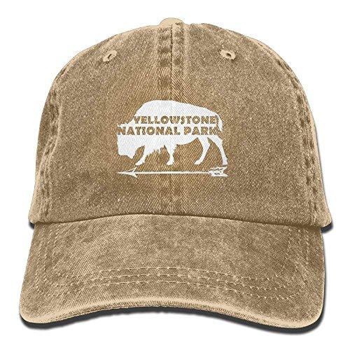 Mann Kostüm Einem Büffel Auf - flys Alter zuverlässiger Büffel Yellowstone Nationalparks wusch Retro justierbare Jeans-Kappen-Fernlastfahrer-Hüte für Frauen und Männer