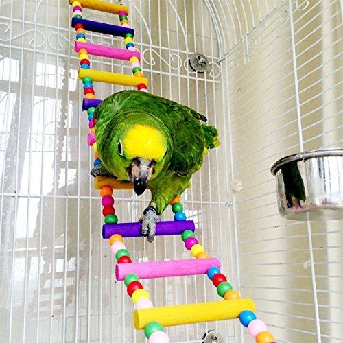 RABI Bird Leitern, Holz Wellensittiche Toys Pet Bird Cage Hängematte Swing Spielzeug zum Aufhängen für Sittiche Nymphensittiche, sittichen, Aras, Papageien, Love Birds, Finken