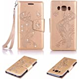 Billionn Case for Samsung Galaxy J5 (2016) SM-J510, Bling Butterfly Embossed Premium PU Leather Magnetic Flip Cover Shell Sty