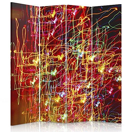 Raumteiler Frames (Feeby Frames. Raumteiler, Gedruckten auf Canvas, Leinwand Wandschirme, dekorative Trennwand, Paravent einseitig, 4 teilig (145x150 cm), Farben, ROT, ORANGE, GELB, GRÜN)