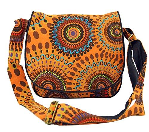 Guru-Shop Schultertasche, Hippie Tasche, Goa Tasche - Orange, Herren/Damen, Baumwolle, Size:One Size, 22x23x5 cm, Alternative Umhängetasche, Handtasche aus Stoff (Stoff-handtaschen Orange)