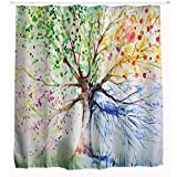 Multicolor Tree Shower Curtain by Comfor-Tech, 3 D Printing Bathroom Decorations, Waterproof Bath Shade Curtains Shower(180*180)