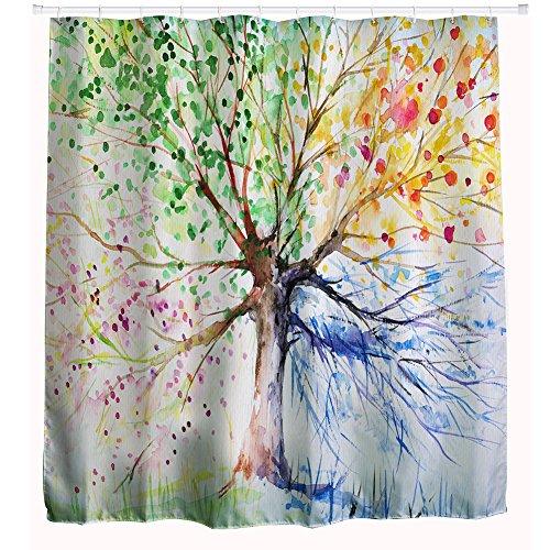 Cortinas De Ducha Multicolores Del Á árbol por Confort-Tech, Impresión 3D Cortinas Baño , Cortina Impermeable De La Cortina (180*180)