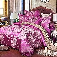 [stile europeo] Puro cotone Piante e fiori Set di biancheria da letto(1Copripiumino 1Lenzuola 2Cuscino)-M Queen2