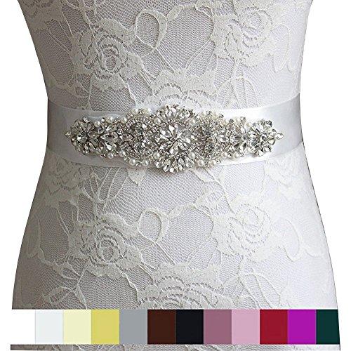 Strass Kristall Braut Sash Brautkleid-Hochzeits -Perlen-Perlen Hochzeit Gürtel Schleife Weiss...