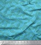Soimoi Bleu Crepe Poly en Tissu Papillon Feuilles Tissu Imprime 1 Metre 42 Pouce Large
