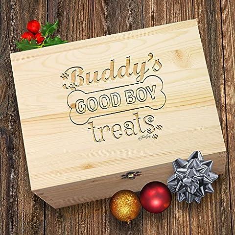 good Dog Paw Prints behandelt personalisierbar Santa 's Christmas gravierter Box