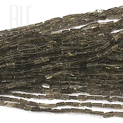 Be You Grey Brown Color Natural Scottish Smoky Quartz Gemstone Plain Rectangle Beads 5 Lines Loose 13 inch Strand