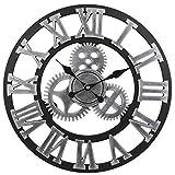 SODIAL Equipo de Retro Vintage Europeo Hecho a Mano 3D Reloj de Pared Vintage Madera Decorativa (Color Plata)