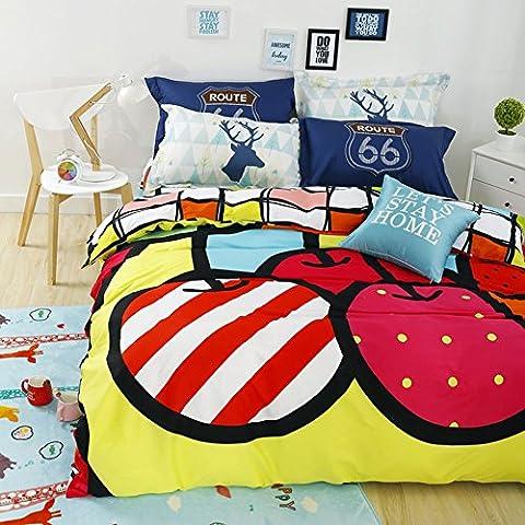Apple Cartoon Bedding Sets - MeMoreCool 100% Cotton Home Textiles Duvet Cover and Pillowcase No Comforter Full