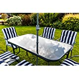 kingfisher 8 piece navy bluewhite padded chairs x6 glass table parasol garden patio furniture set - Garden Furniture 4 Less