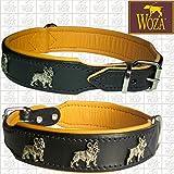 Woza Premium Hundehalsband Französische Bulldogge 3,3/52CM Lederhalsband Vollleder Schwarz Rindnappa Cognac Collar