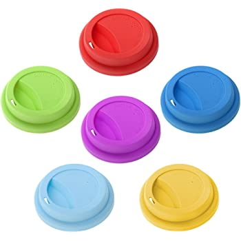 Aspire Silicone Drinking Lid Cup Lids, Reusable Coffee Cup Covers/Lids - ASSORTED 1 PACK