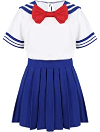 f75fb459c2 Freebily Kids Girl's Sailor Moon Cosplay Costume School Uniform Dress  Shirts with Pleated Mini Skirt Navy