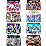 JINSHI Men's Comfort Soft Sexy Bamboo Underwear Stretch Athletic Boxer Briefs 8 Pack Size M