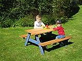 Kinderpicknick-Sitzgruppe / Material: Lärchenholz / Länge: 120 cm / Tischhöhe: 58 cm / Sitzhöhe: 34 cm / Breite: 54 cm
