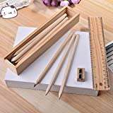 Wooden Pencil Set | Box With 12 Different Crayon Colour Pencils | Scale (Ruler) And Wooden Sharpener Pencil Box For Architect | Artist | Kids | Designer Case By GENERIC HUB™