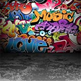 YongFoto 3x3m Vinyl Photography Backdrop Graffiti Wall Urban Street Abstract Art Painting Backdrops for Photo Shoots Lovers Party Adult Kids Baby Personal Portrait Photo Background Studio Props 10x10FT