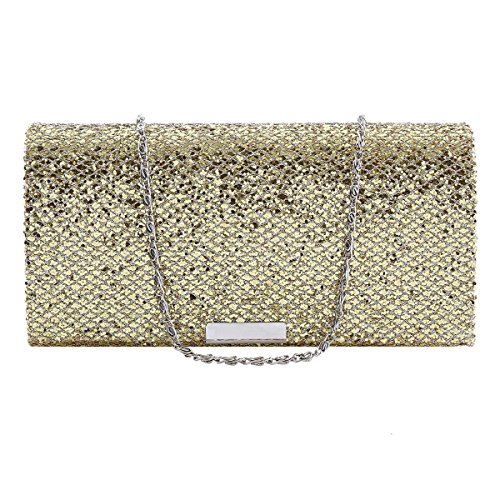 Damara Sac de Soirée Pochette Femme Synthétique Rectangle Glitter Enveloppe Sac à Epaulet noir