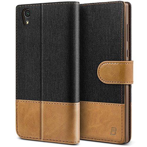 BEZ® Hülle für Sony Xperia L1 Hülle, Handyhülle Kompatibel für Sony Xperia L1, Handytasche Schutzhülle Tasche [Stoff und PU Leder] mit Kreditkartenhaltern, Schwarz