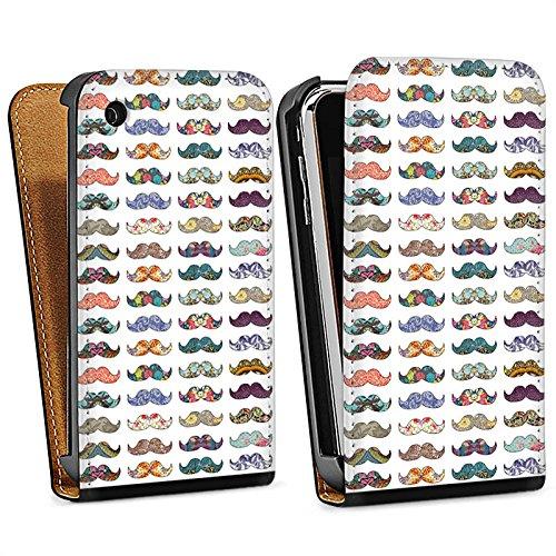 Apple iPhone 4 Housse Étui Silicone Coque Protection Moustache Hipster Motif Sac Downflip noir