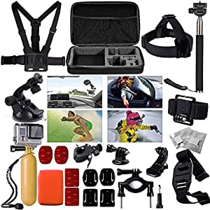 XCSOURCE® Zubehör Halter Set Satz für GoPro Hero 2 3 3 + 4 SJ 4000 SJ5000 Schutzhülle Tasche Storage Carry Bag Einbeinstativ Lagerung Tragetasche/Brustgurt OS95