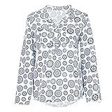ESAILQ Damen Basic V-Ausschnitt Kurzarm T-Shirt Falten Tops mit Knopf(L,Weiß)