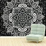 Schwarz und Weiß Mandala Tapestry von TanJean, indisches Wall Hanging Wandteppich Bohemian Hippie Tapisserie Boho Deko Bettlaken, Tischdecke, Picknick Decke, Beach Coverlet , Sterne Sternenhimmel Tapisserie (Mandala-b)