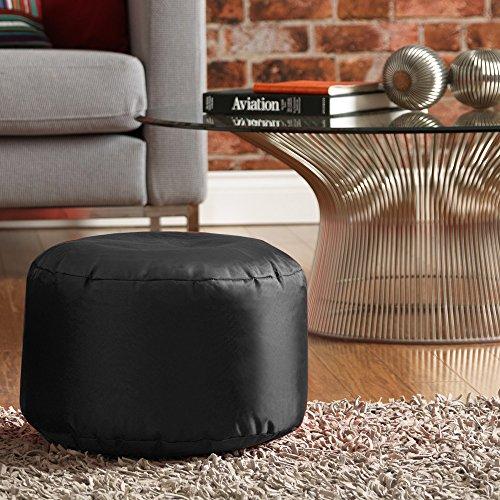 Bean Bag Bazaar runder Fußhocker für Innen und außen in Schwarz (Stoff-wohnzimmer-bean-bag)